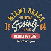 Spring break - Miami beach. Vintage T shirt graphics.