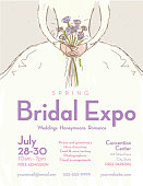 Spring Bridal expo advertisement design poster template. Poster advertisement for event. Includes cute hand drawn bridal dress with bouquet. Cute background with leaves and spring flowers