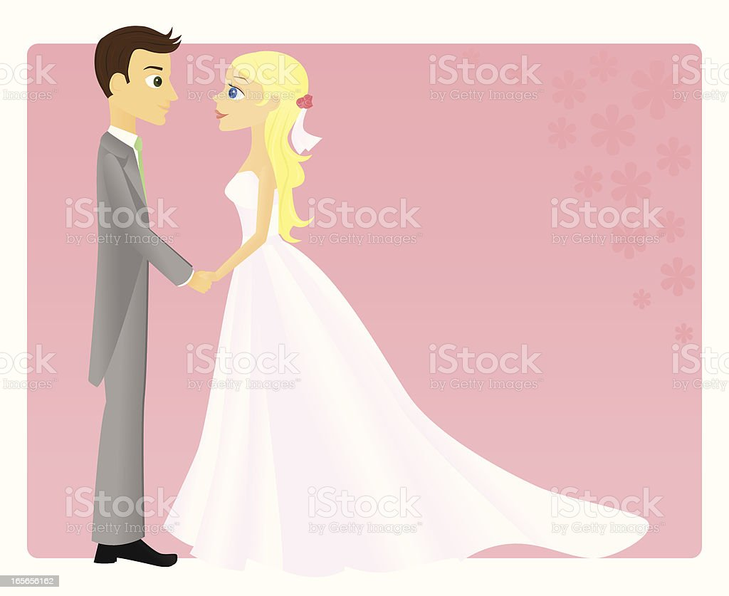 Spring Bride and Groom vector art illustration