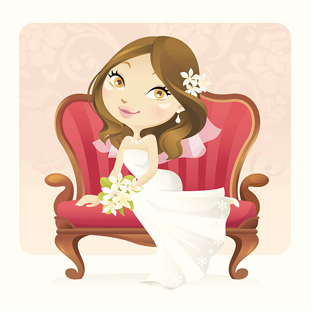 spring bride (brunette) - chihhang stock illustrations