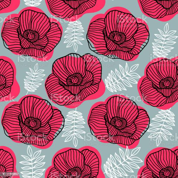 Spring bright seamless floral pattern with hand drawn red poppy on vector id911115852?b=1&k=6&m=911115852&s=612x612&h=hmio2kya2yglmnneag98qigf gjusbxyib8vvbddp9u=
