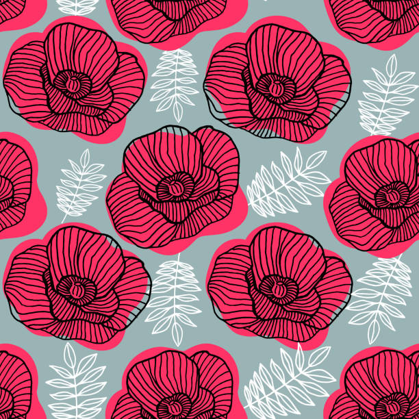 Spring bright seamless floral pattern with hand drawn red poppy flowers on gray background. Ditsy print. Vector illustration flower head stock illustrations