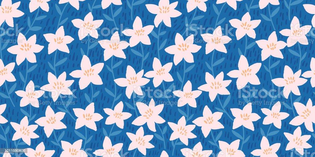 5f6a483a906b Primavera brilhante sem costura floral padrão com mão branca desenhada  flores sobre fundo azul. Impressão