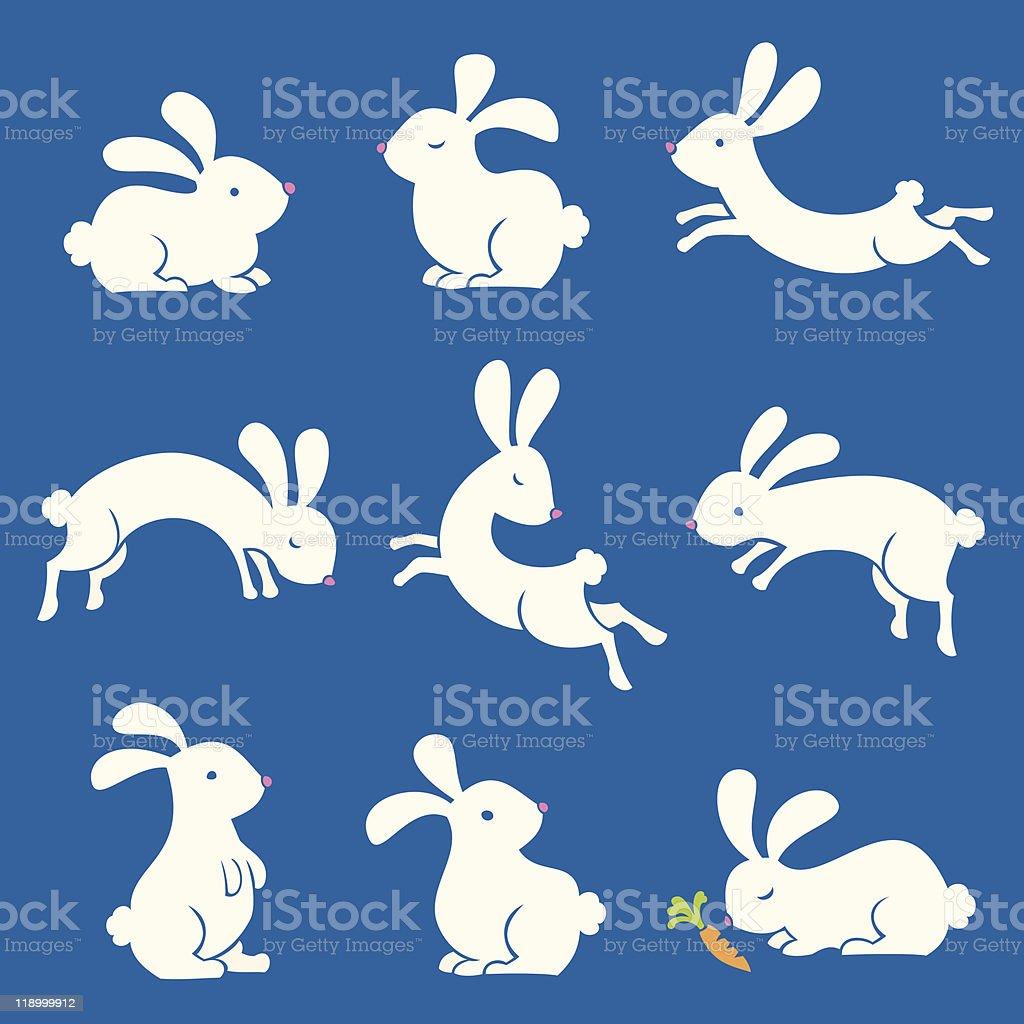 Spring Bunnies vector art illustration
