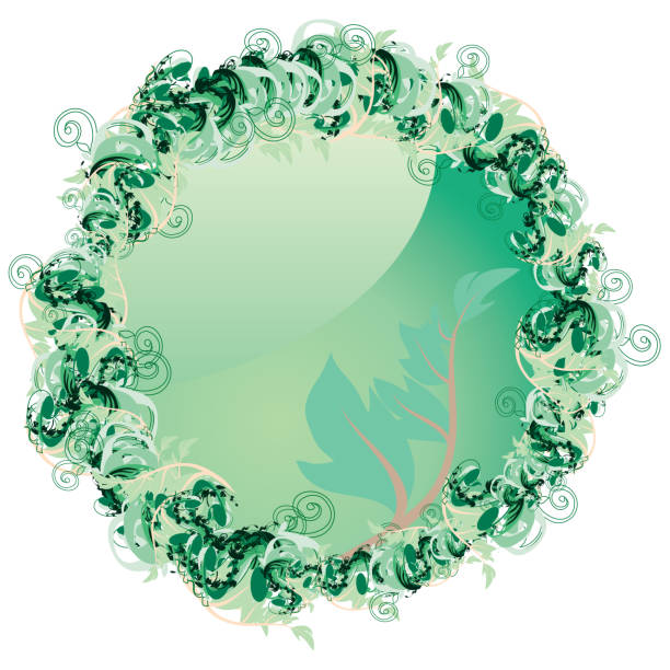 Spring Button with leaves vector art illustration