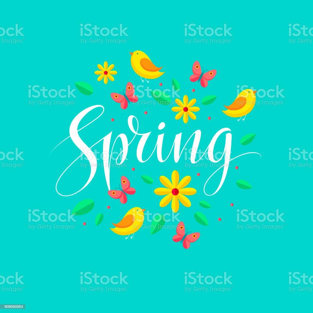 Ilustración de Tarjeta Primavera Y Fondo Tipografía De Letterng ...
