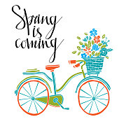 Spring card. Bicycle
