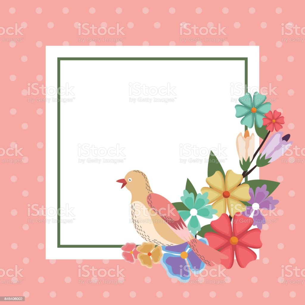 Spring Card Bird Flower Frame Decoration Invitation Template Stock ...