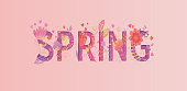 Spring card, papercut style. Beautiful flowers and leaves grow up in the word on pink background.Vector illustration for new season. For design, banner, template, t-shirt, fashion, prints, decoration.