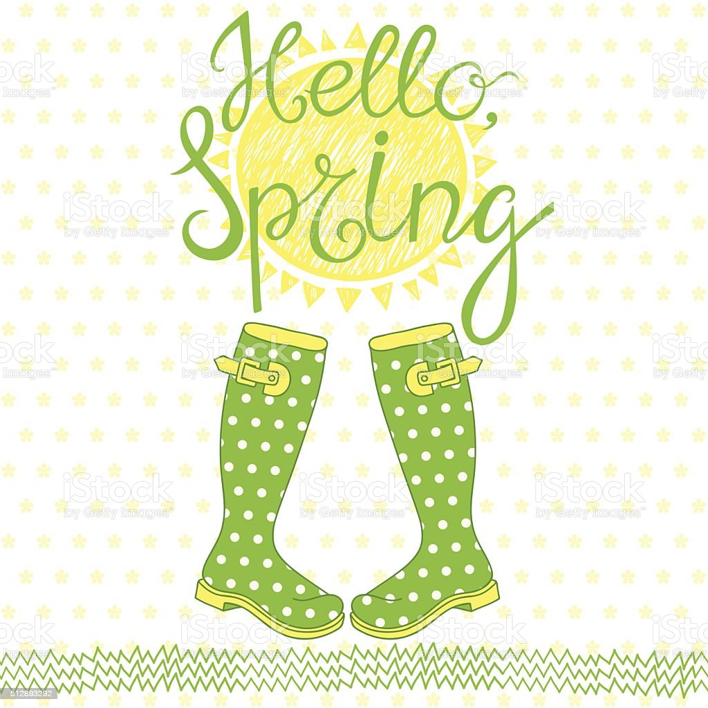 Spring card with a greeting. Hand-drawn vector illustration. vector art illustration
