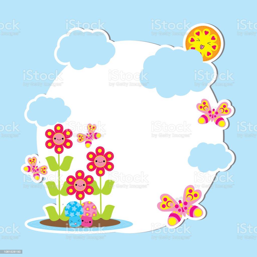 Ilustracion De Tarjeta De Primavera Con Mariposas Y Flores De