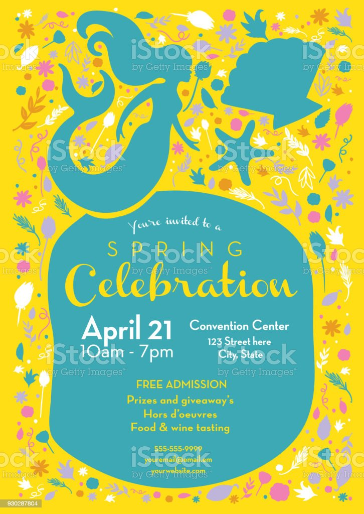 Spring celebration invitation design template with mermaid and spring celebration invitation design template with mermaid and starfish royalty free spring celebration invitation design stopboris