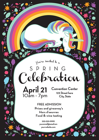 Spring celebration invitation design template with unicorn and rainbow