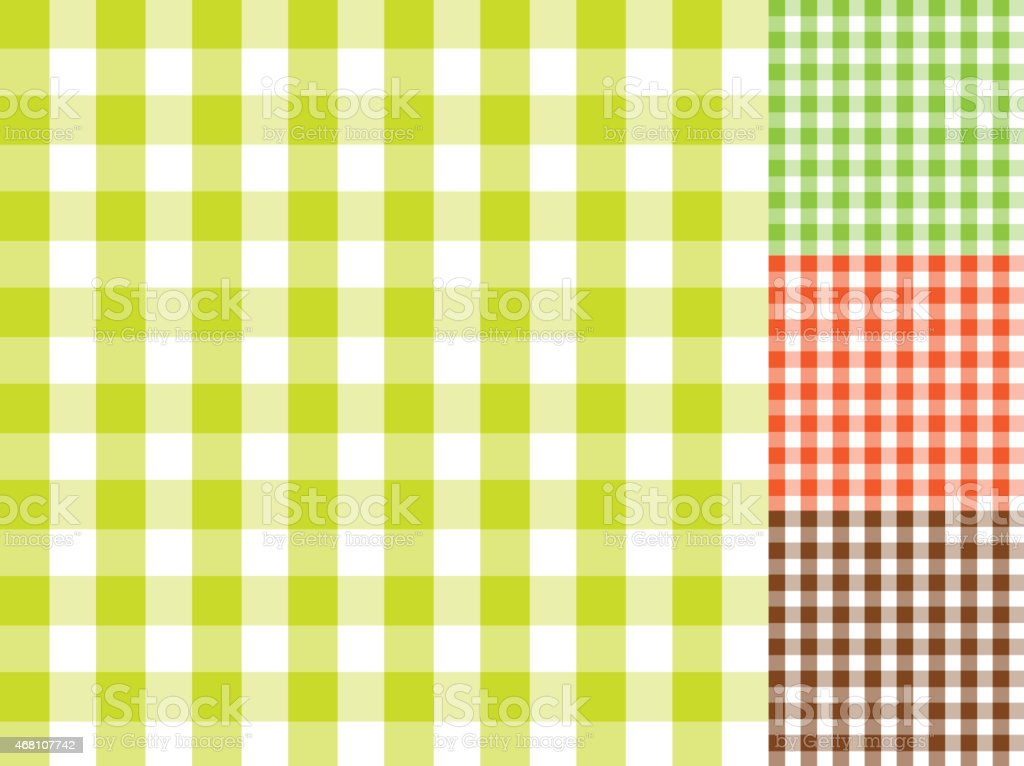Spring Checked table cloth background pattern set with texture vector art illustration
