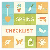 Spring checklist background concept with space for copy. EPS 10 file. Transparency effects used on highlight elements.