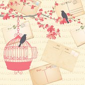 Spring Cherry blossoms With Birds And Cages