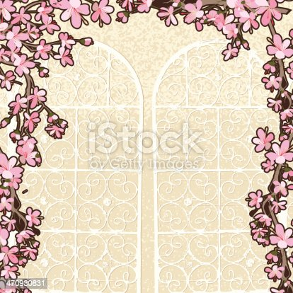 Spring Cherry Blossoms with Garden Gate