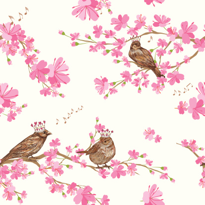 Spring Cherry Blossoms with sparrows Pattern