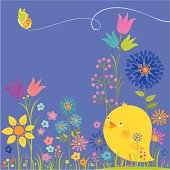 Cute Chick is watching a butterfly. Spring time. Vector.