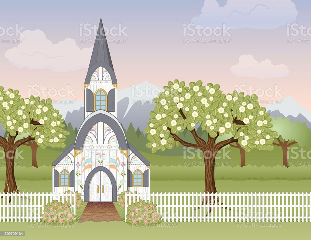 Spring Church Scene vector art illustration