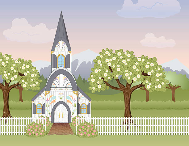 Spring Church Scene vector art illustration