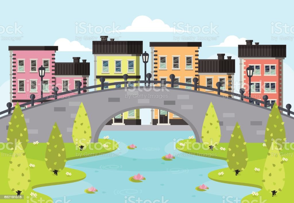 Spring City Landscape. vector art illustration