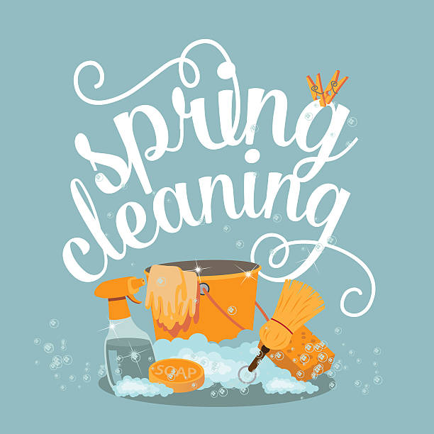Spring Cleaning cheerful flat design vector art illustration