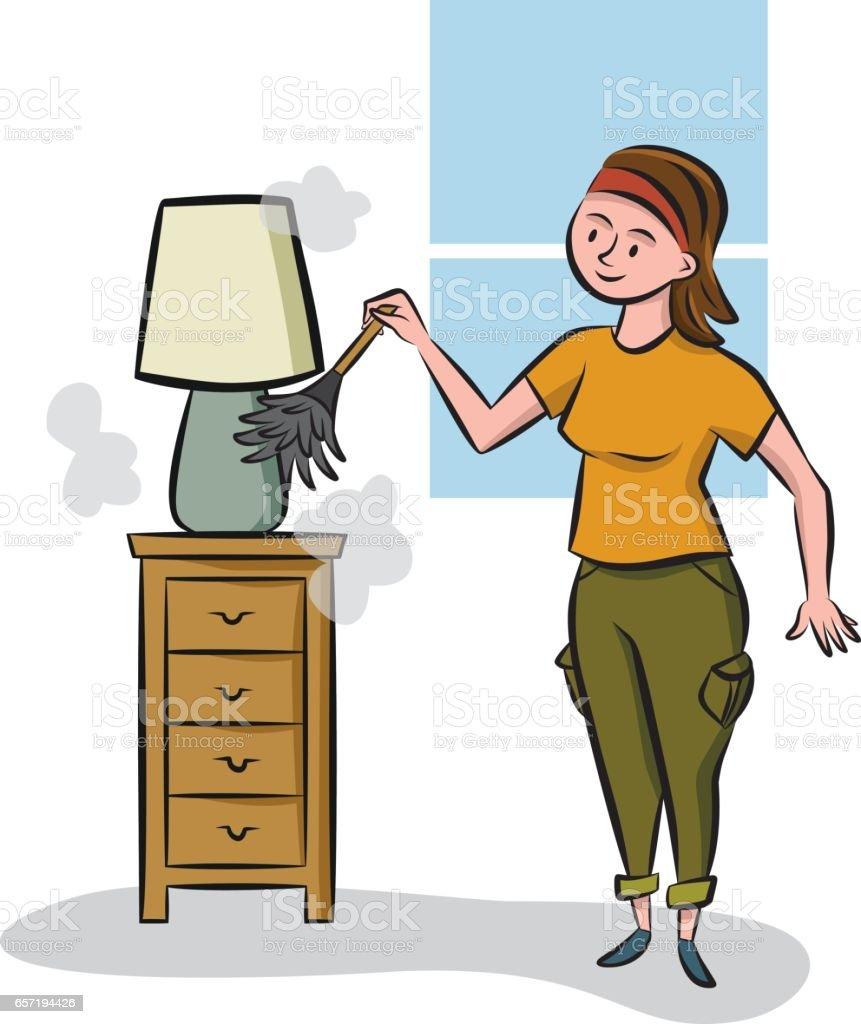 dusting furniture. Spring Cleaning - Dusting Vector Art Illustration Dusting Furniture
