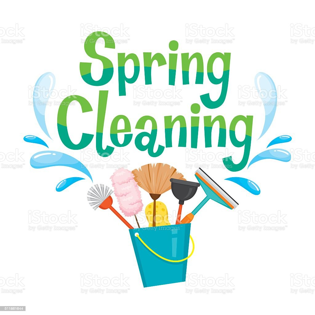 Spring Cleaning Letter Decorating And Cleaning Equipment vector art illustration