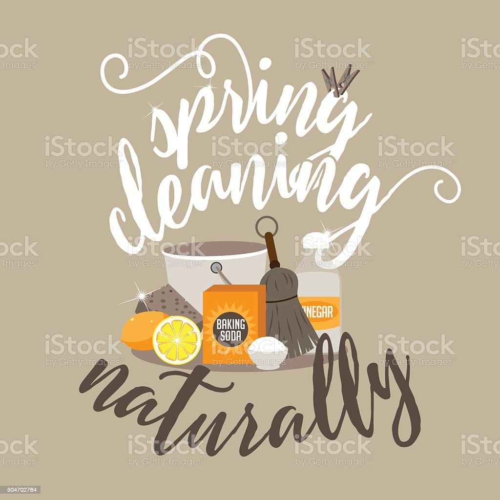 Spring Cleaning naturally with baking soda, vinegar and lemon vector art illustration