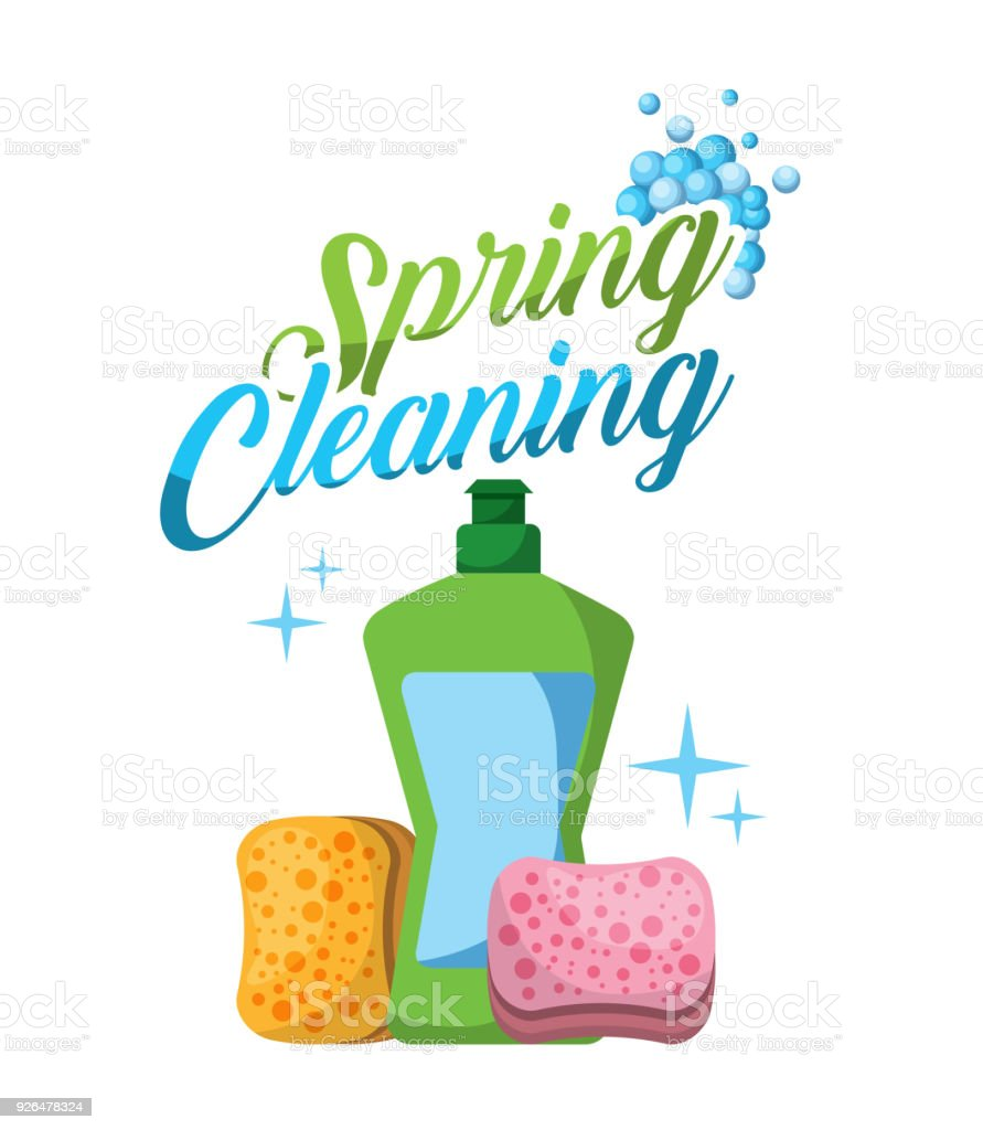 spring cleaning plastic bottle sponge bubbles vector art illustration