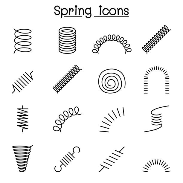 spring, coil and absorber icon set in thin line style - спираль stock illustrations