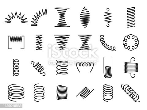Spring coils. Metal spiral springs, metallic coil and linear spirals silhouette. Vape or machine steel coil, twisted spiral flexibility spring part. Isolated vector icon set