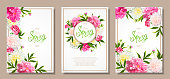 Set of three floral backgrounds with blooming pink and light yellow peonies, buds, green leaves. Inscription Spring. Template for card, banner on 8 March, Mothers Day, Birthday, Sale, Wedding