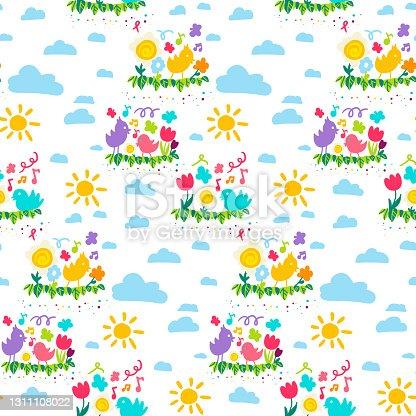 istock Spring color cartoon wallpaper seamless pattern vector 1311108022
