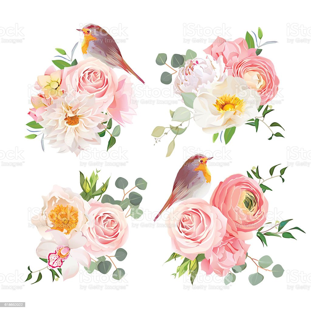 Spring Colorful Bouquets And Robin Birds Vector Design