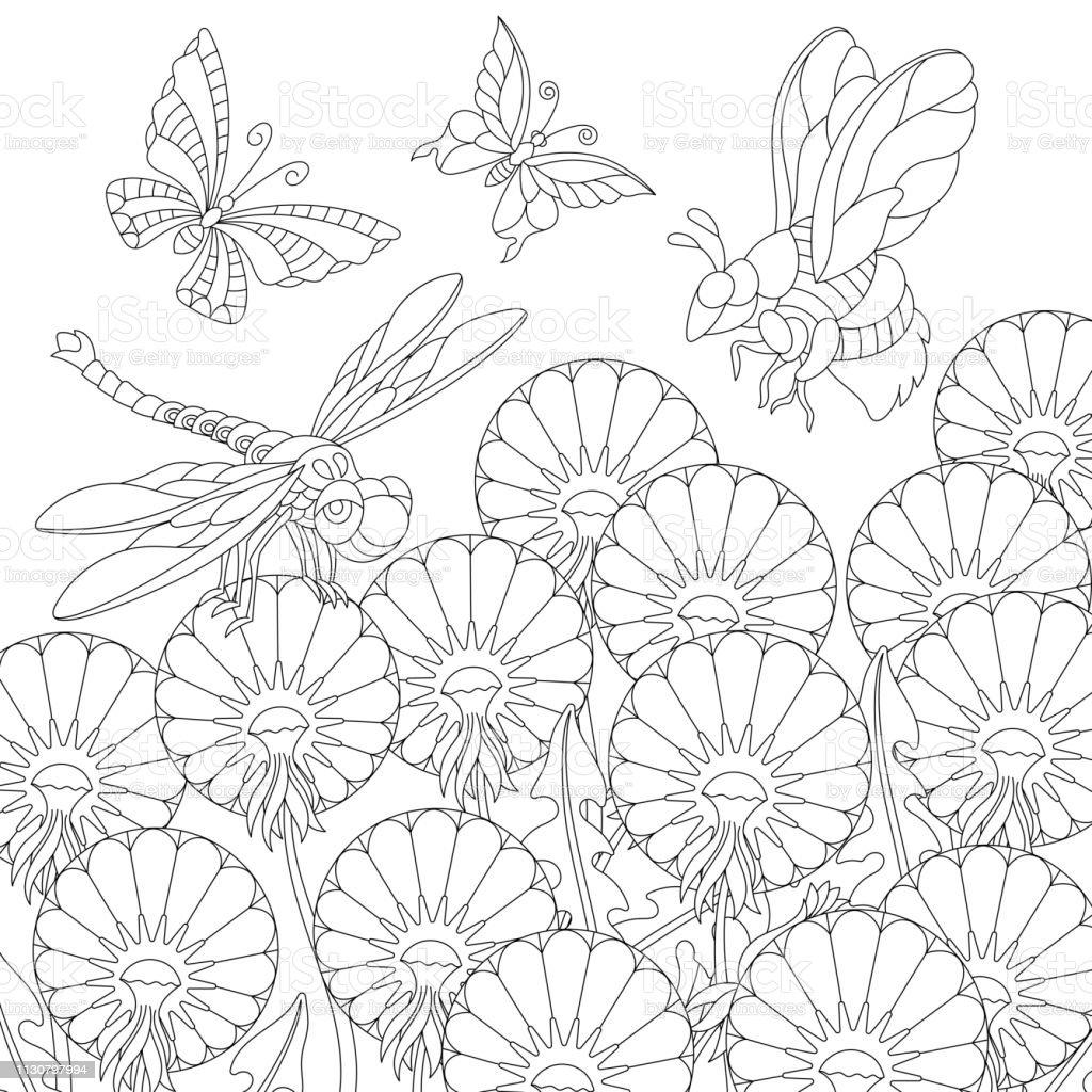 Coloriage Fleur Insecte.Coloriage De Printemps Des Insectes Et Des Fleurs De Pissenlit