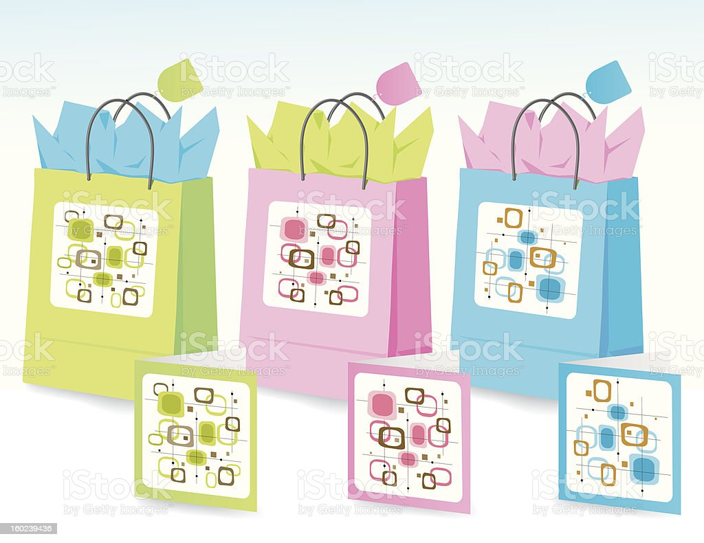 Spring Colors Gift Bags vector art illustration