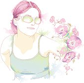 A stylized illustration of a young woman. (includes jpg)