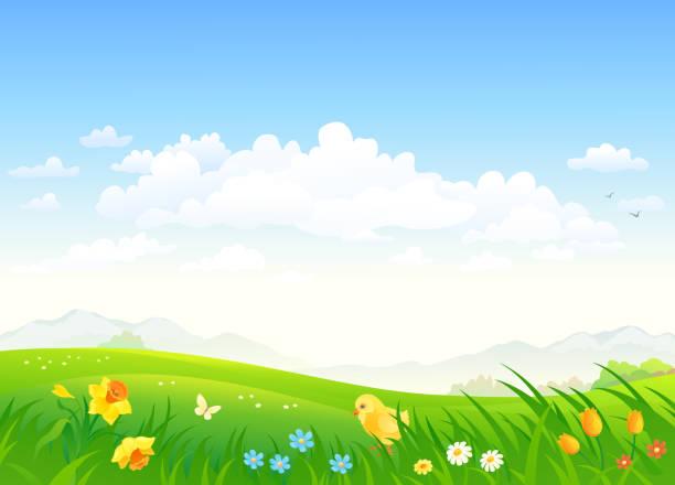 春の国の背景 - 草原点のイラスト素材/クリップアート素材/マンガ素材/アイコン素材