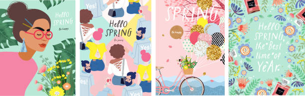 ilustrações de stock, clip art, desenhos animados e ícones de spring! cute vector illustration of a woman with flowers, a bicycle with balloons, young people and a floral frame for a poster, card, flyer or banner - balão enfeite