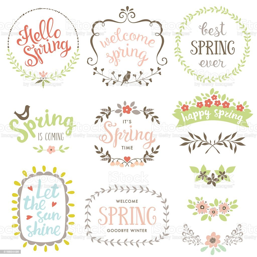 Spring Design Set vector art illustration