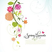 Spring design with flowers, leaves and copyspace.  EPS10 file contains transparencies.  Hi res joeg included, global colors used. Scroll down to see more of my illustrations.