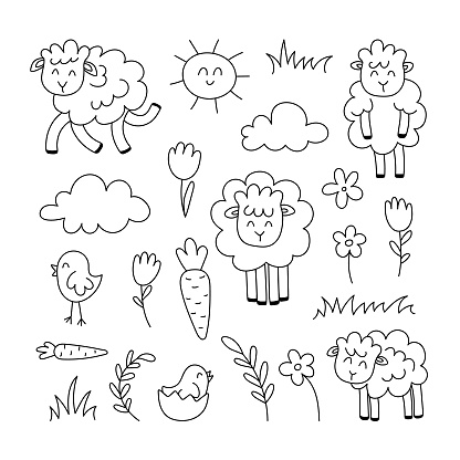 Spring doodle set with sheep, flowers, baby bird, plants, sun, linear vector illustration. hand drawn style symbols and objects . simple, black drawing for sticker, decor, postcard, icon, coloring page, logo
