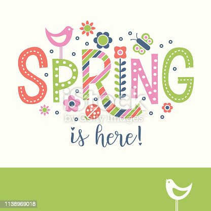 Spring doodle text design with birds, flowers and dots Cheerful design for banners, cards, posters and decor.