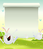 Vector illustration of cartoon happy cute easter rabbits jumping in the grass on a spring landscape background with parchment scroll sign for announcement message. Vector eps and high resolution jpeg included