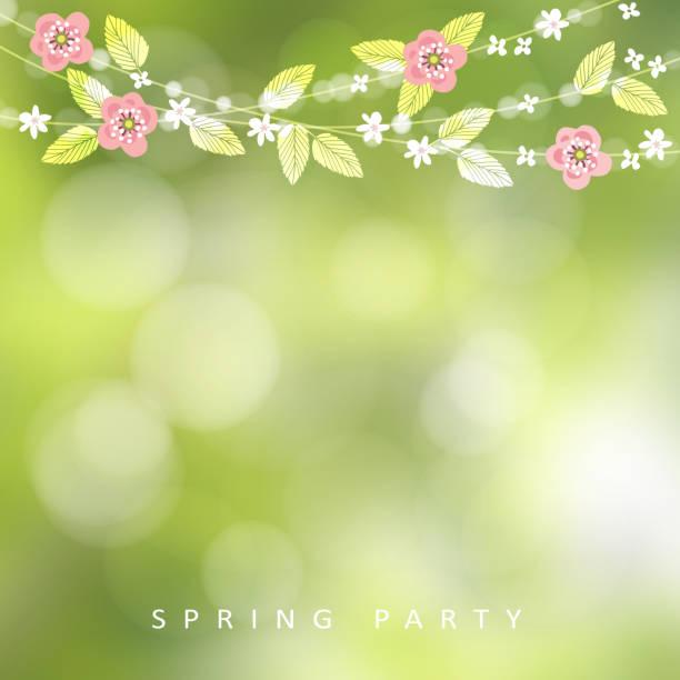 ilustrações de stock, clip art, desenhos animados e ícones de spring, easter greeting card, invitation. string of bokeh lights, leaves and cherry blossoms. modern blurred background. garden party decoration - cherry blossoms