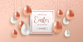 Easter sale luxury illustration of online business offer. Realistic 3d pink copper eggs with glitter for traditional spring holiday.