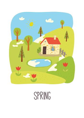 Spring. Educational flash card.