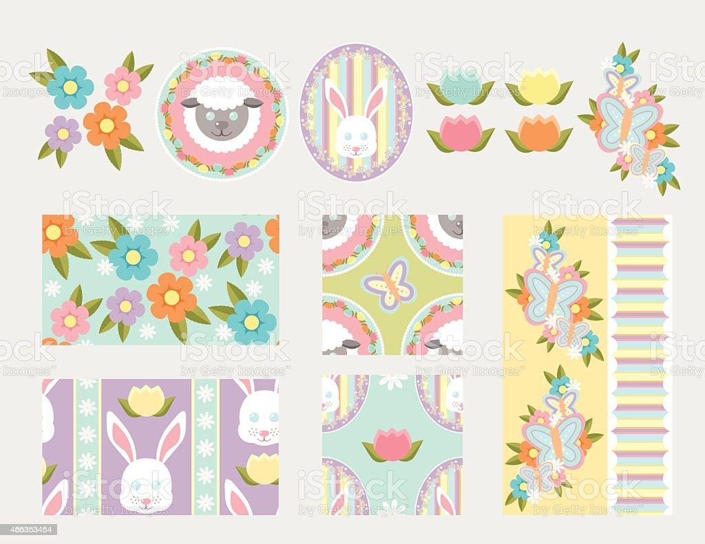 Spring Elements and Patterns vector art illustration